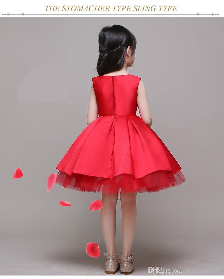 3-12 T Marka Saten Çiçek Kız Elbise Kırmızı Pullu Prenses Tutu Parti Gelinlik Kızlar için Noel Tarzı Tatlı Çocuklar Elbise