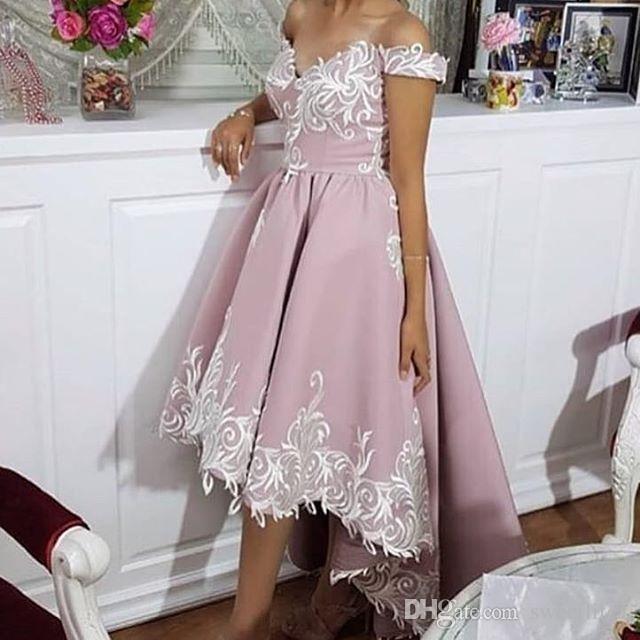 2018 Dark Pink Hi Low Prom Dresses Off The Shoulder White