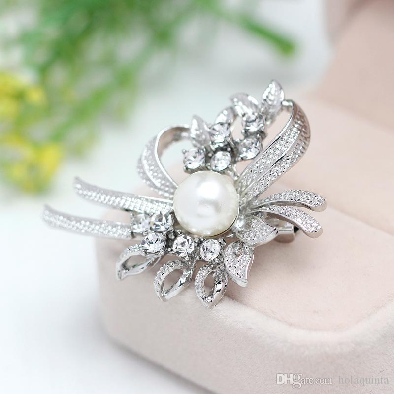 Nouveau Style Élégant Bijoux Diamante Arc Argent Broche Épingle Écharpe Robe Décoration Cadeau