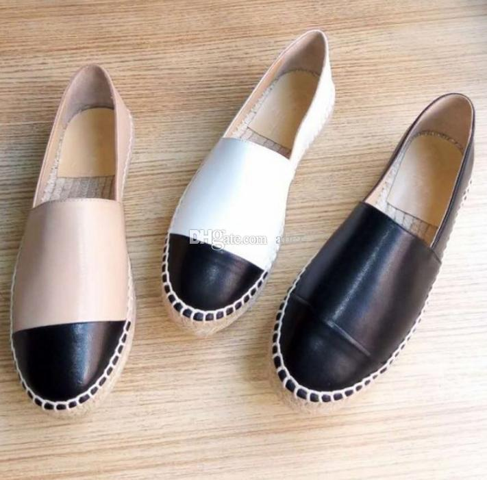 a21f3743b63 Top Quality Espadrilles Shoes Black Lambskin Cap Toe Espadrille Flats  Black/White Leather Ladies Women Genuine Leather Designer Shoes 34-42