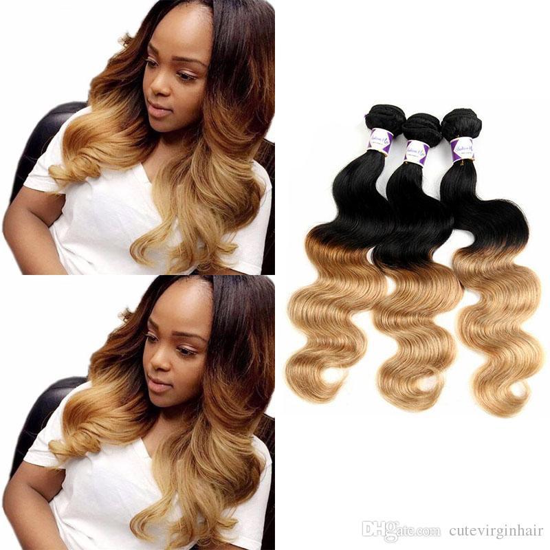 8a Ombre Hair Extensions 1b27 Blonde Ombre Virgin Human Hair 100g