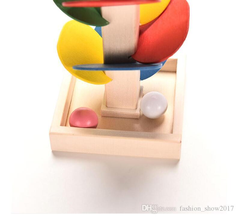 De madeira da árvore bola de mármore corrida pista jogo bebê montessori blocos crianças crianças inteligência modelo de construção de brinquedo educativo