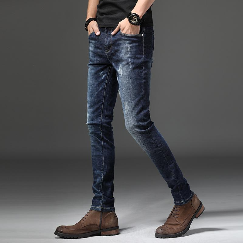 3bf3a7c84d7 2019 Mens High Stretch Classic Jeans Smart Casual Lightweight Denim Pant Men  Cotton Fashion Slim Business Jeans Size 28 36 AA11460 From Junqingy