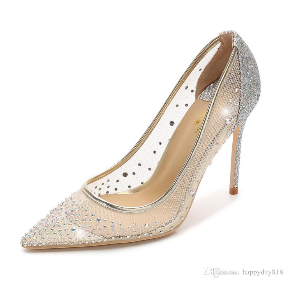 0eb78f75a9c960 Acheter Livraison Gratuite Mode Femmes Nude Maille Cristal Point De Strass  Bout Des Chaussures De Mariage Talons Hauts Chaussures À Talons Minces  Pompes En ...