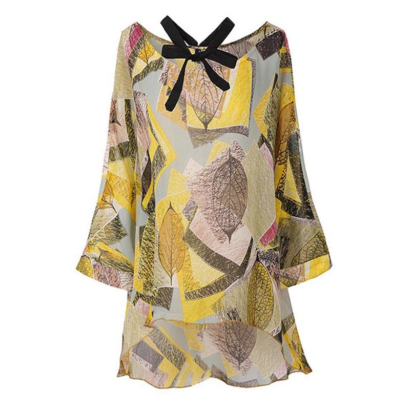 9a94feeb91e 2019 Sishot 2018 Womens Tunic Tops Vintage Floral Print Shirts Halter  Hollow Out Bowknot Women's Blousers Chiffon Long Ropa Mujer From Aqueen, ...