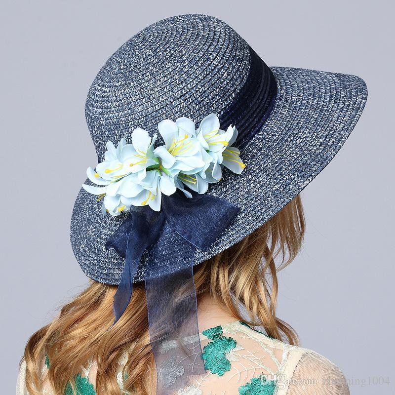 5ac64768 Fashion Designer Ladies Elegant Flower Beach Hats Women Spring ...