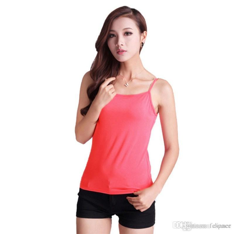 d2d13bc0612 Wholesale- Woman Cotton Plain Camisole Camis Classic Basic Spaghetti Strap  Layering Tank Top Tank Top with Design Tank Top Lace Tank Top Silk Online  with ...