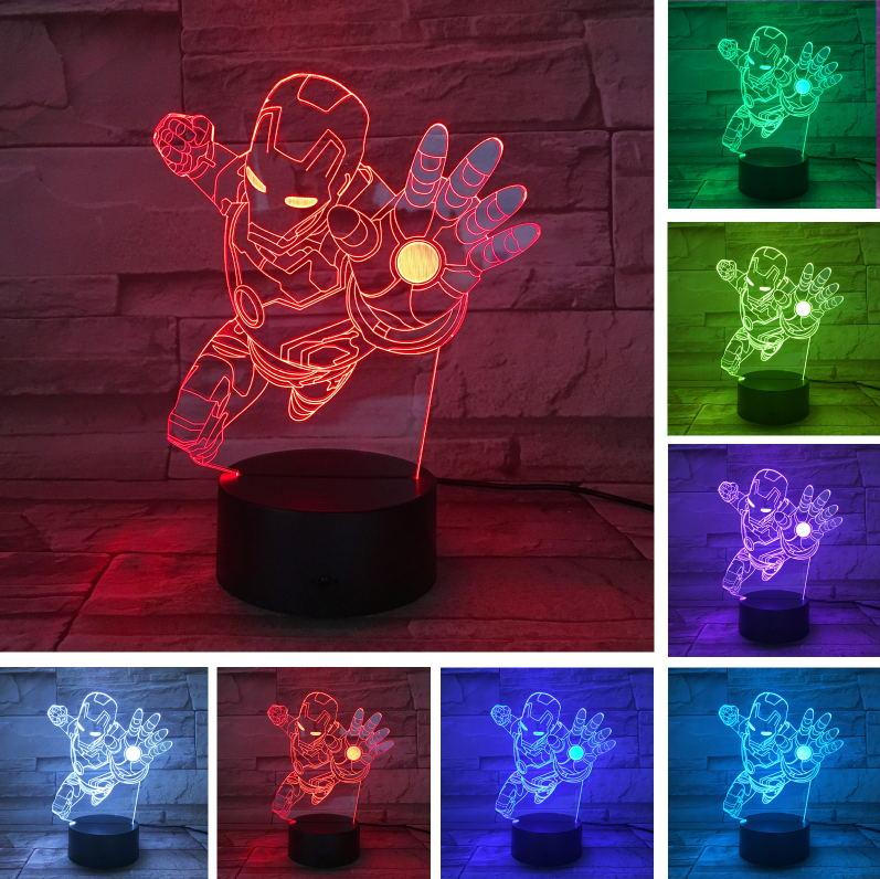 Novelty Superhero Ironman Action Figure Colors Changing LED 3D Night Lamp lampada Child Kid Boys Table Bedroom Sleeping Bedside Light Gifts