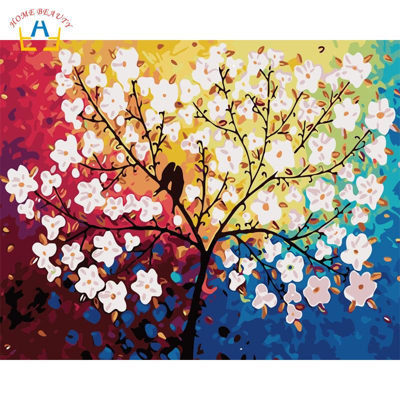 Birds Flowers Tree Paintings Drawing By Numbers On Canvas With Acrylic Paints Pictures For The Kitchen Wall Home Decor W6758