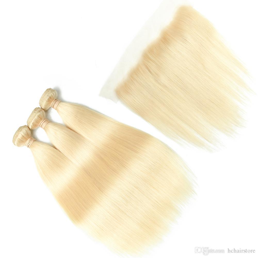 613 Blonde Bundles Brésiliens Remy Raides Raides Dentelle Frontale Fermeture Avec Bundles 613 Blonde Cheveux Humains 3 Bundles Avec Fermeture