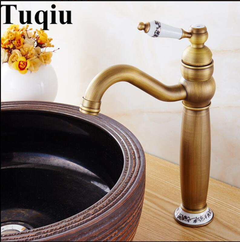 Basin Faucets Antique Bronze Solid Brass Bathroom Sink Faucet With Ceramic  Single Handle Hole Wash Basin
