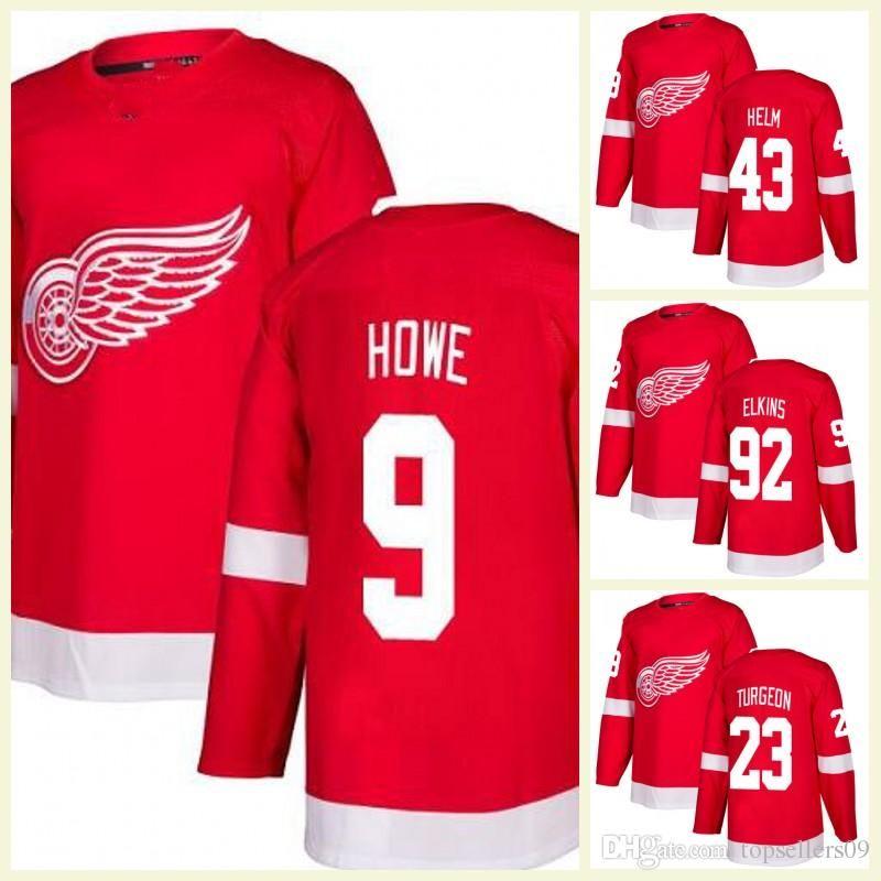 684aa9d3b52 2019 2018 MENS Detroit Red Wings Jerseys 71 Dylan Larkin 40 Henrik  Zetterberg 15 Riley Sheahan 9 Gordie Howe 23 Dominic Turgeon Stitched Jersey  From ...