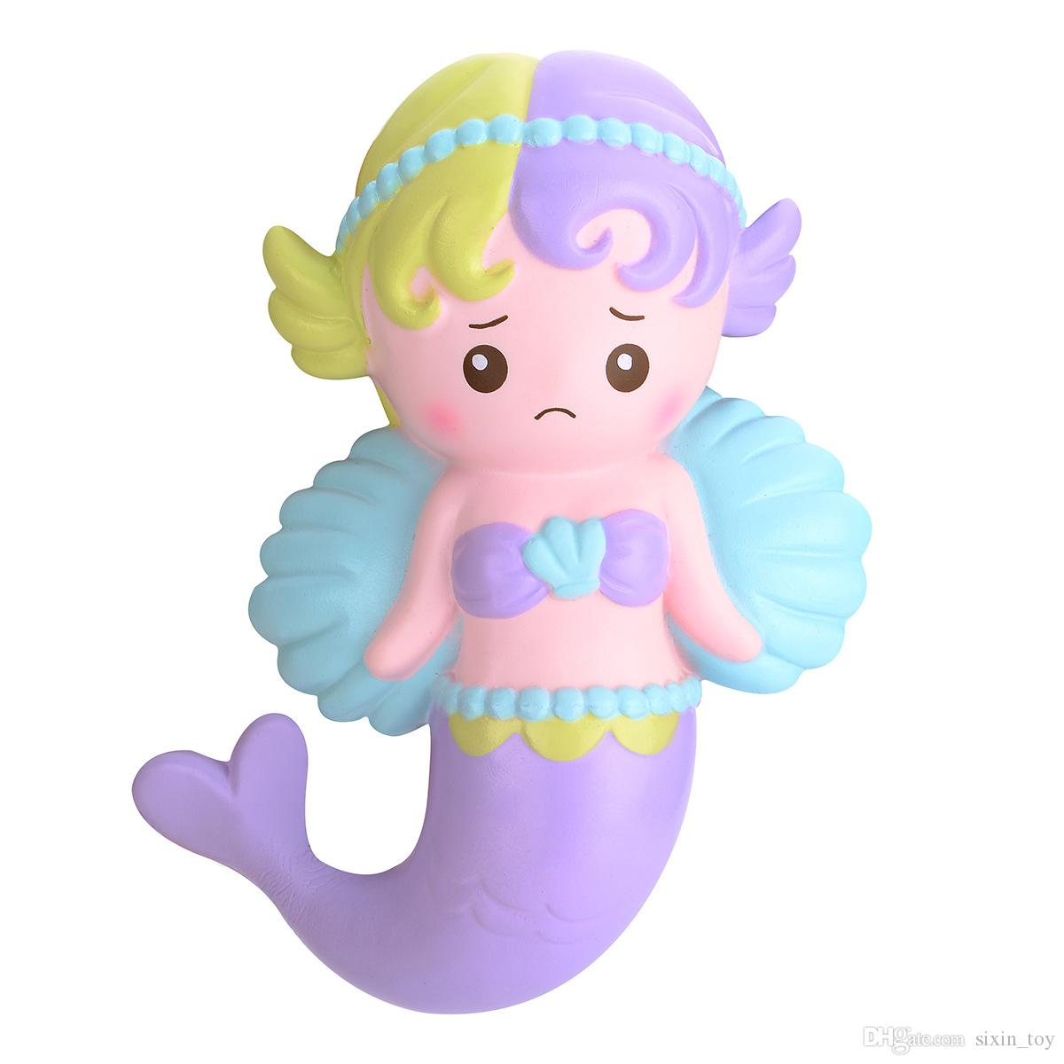 High Quality Angel Wing Mermaid Squishy Toy Soft Squeeze Slow Rising Decompression Toys Phone Charms Home Dector Kids Gift