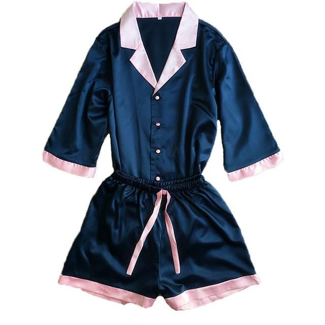 509466b180f5d Sexy V Neck Rayon Silk Pajama Sets Women Leisure Plus Size Tops   Shorts  Pink Blue Sleepwear Pyjama Femme Satin Pajamas Satin Pyjamas From  Glass smoke