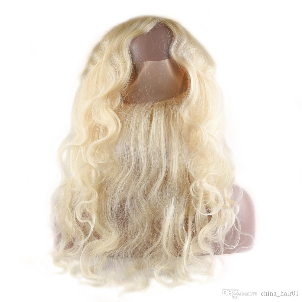 #613 Blonde Virgin Brazilan Body Wave Human Hair Weaves 3 Bundle Deals with Full Frontals Pre Plucked 360 Band Lace Frontal Closure