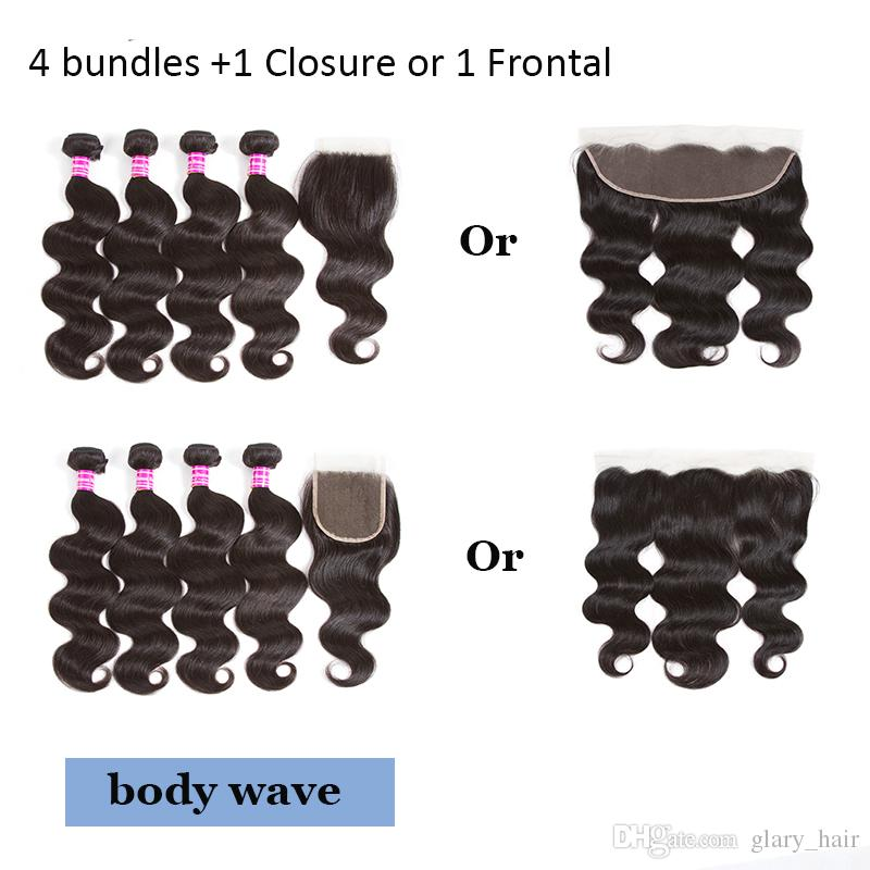 Peruanisches Haar Spitze Frontal mit Bundles Körperwelle gerade verworrene lockige menschliche Haarwebart Wasser Welle Haar 4 tiefe lockige Bundles mit Verschluss