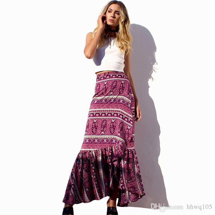 8dbc9638ec793 2019 Boho Skirts Ladies Slim Ruffles Long Wrap Skirt Summer Holiday Maxi  Asymmetric Beach Skirts Dresses Paisley Striped Casual Skirts CSH0109 From  Hhwq105