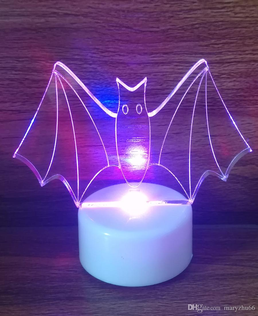 light up colour led acrylic bat halloween t light decoration clear acrylic laser cutting led pumpkin night light christmas ornaments for sale online