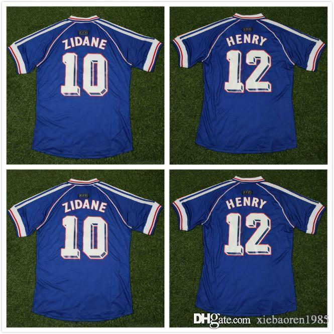 5fd49625b     Wholesale 1998 FRANCE Retro Soccer Jerseys Home Thai Quality 3AAA+  Customzied Name Number Zidane Henry Soccer Uniforms Football Shirts Soccer  Jerseys ...