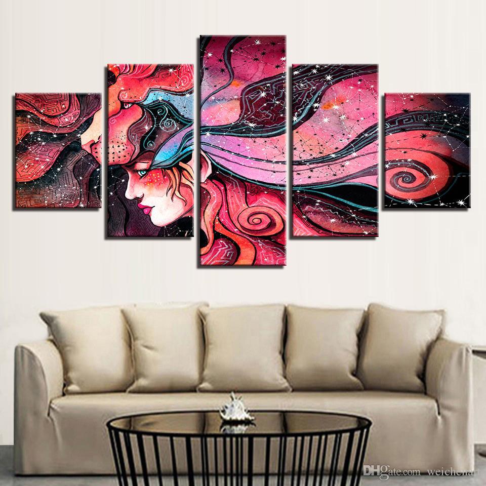 Acquista HD Prints Canvas Home Wall Art Decor Quadro Quadri 5 Pezzi Colore  Fiori Ragazza Quadri Soggiorno Poster Astratti A $36.18 Dal Weichenart | ...