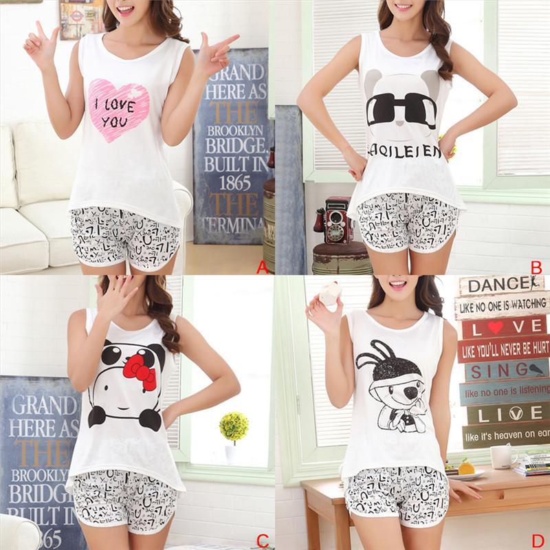 9ee04c2e1e Compre Conjunto De Pijamas Para Mujer T Shirt + Short Summer Women Pijamas  De Dibujos Animados Lindo Conjunto De Algodón Sin Mangas Pijamas De Niña  Traje De ...