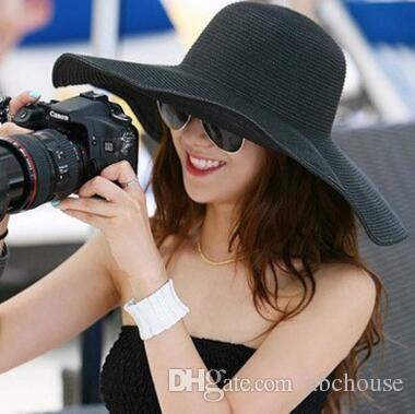 bd3f9e75eca8 Fashion Folding Empty Sun Hat for Women Sun Caps Summer Beach Straw ...