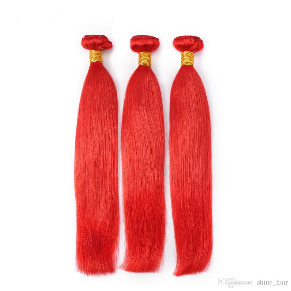 Virgin Brazilian Red Hair Weave Bundles Silky Straight Pure Red Color Virgin Remy Human Hair Weaves Extensions Double Wefts