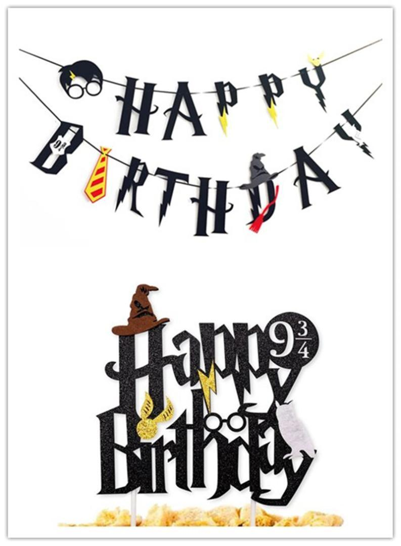 2019 glitter happy birthday banner cake topper boy birthday party