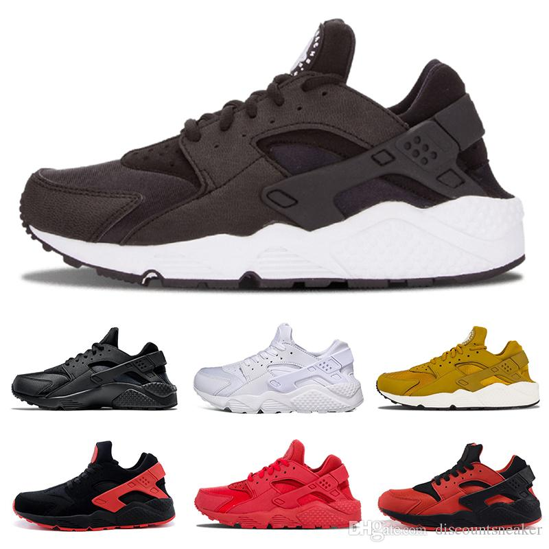 big sale 1780a d6711 Huarache 1.0 Classic Gold Triple red black white Running Shoes For Men  Women Breath Huaraches Trainer Athletic Sport Sneakers US 5.5-11