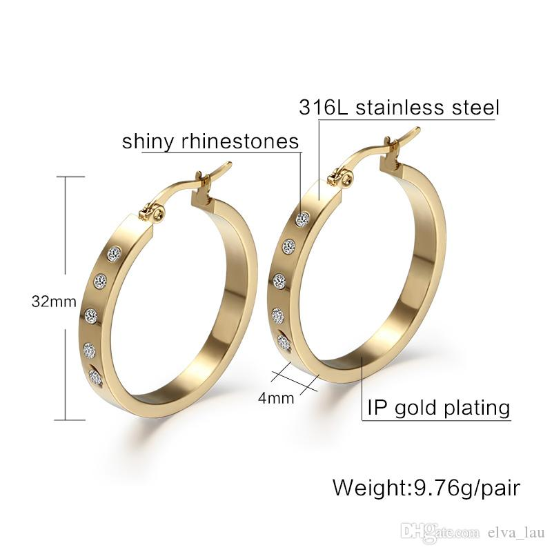 Big Round Hoop Earrings For Women Gold Color With Shiny Rhinestone Stone Anti Allergy EURO-US Style