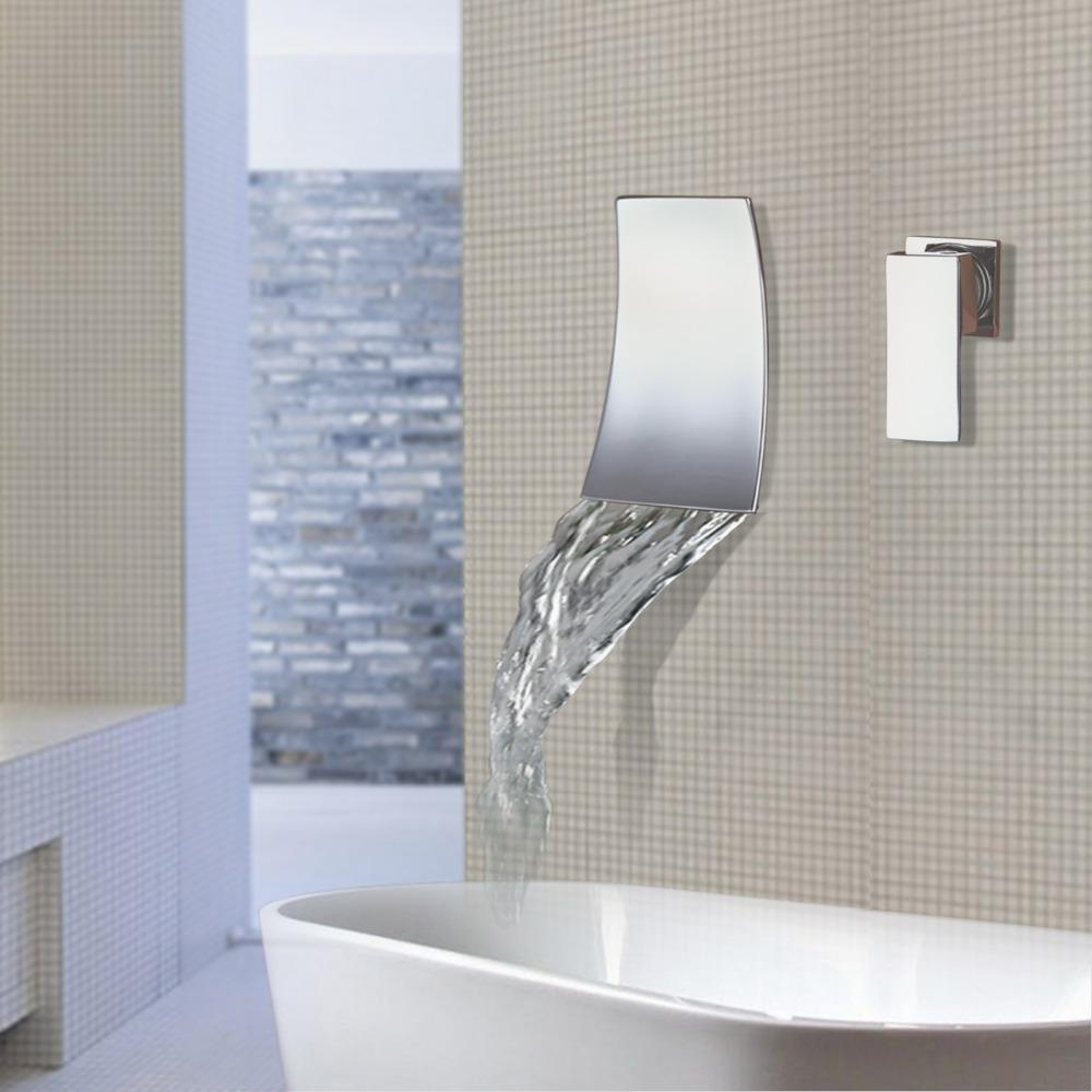 Wall Mounted Waterfall Bath Faucet Sinks And Faucets Home Mount Cascade Filler