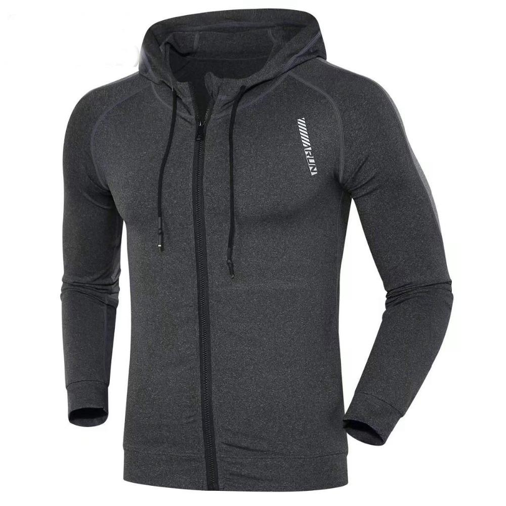 caf02ec64616 2019 Men Running Jacket Sports Fitness Long Sleeves Hooded Tight Gym Soccer  Basketball Outdoor Training Run Jogging Workout Jackets From Fopfei
