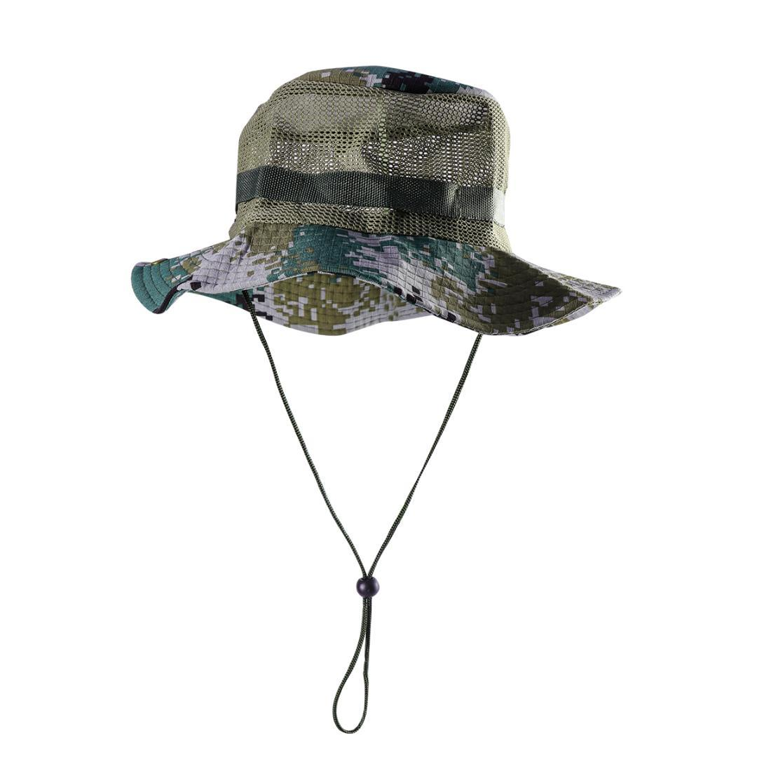 49911412a4e 2019 Outdoor Mesh Sunshade Fisherman Fishing Hat Sun Cap Bucket Hat With  String Wide Brim For Men Grey Green With Mesh From Qingbale