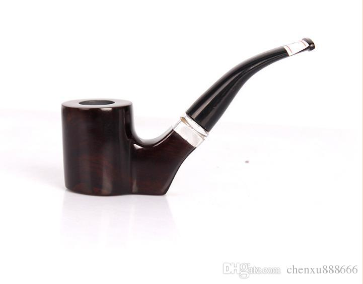 Ebony pipe bending type tobacco smoking bucket bucket handle manual wholesale with 9mm filter with circle