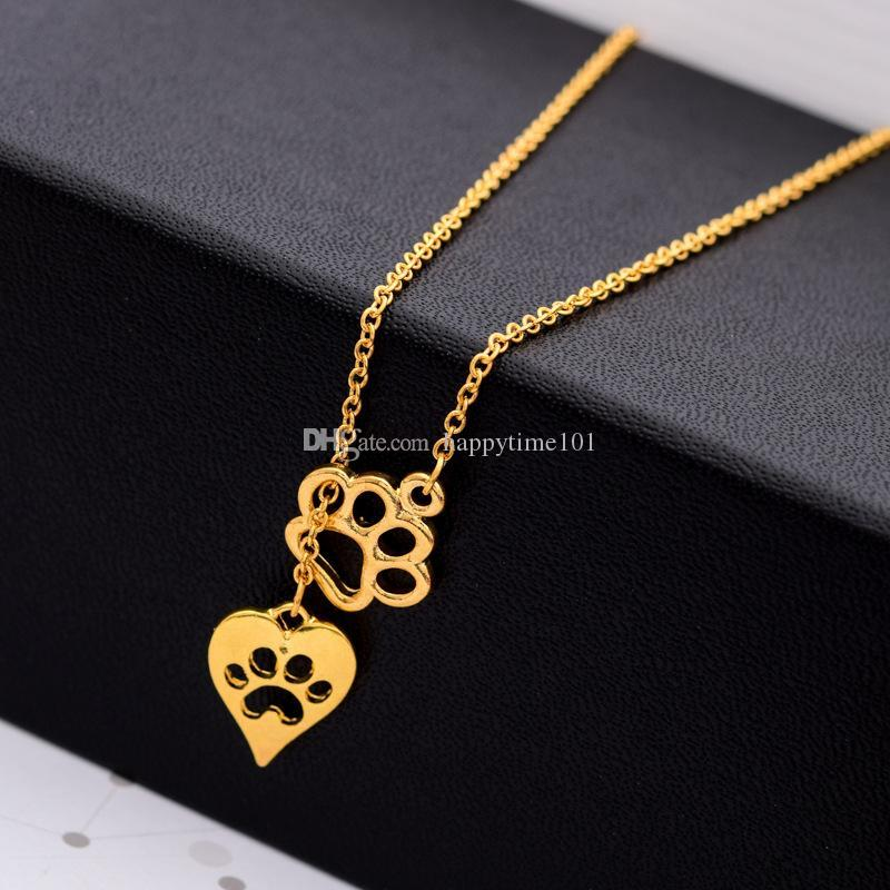punk bear paw Electrocardiogram dog footprints chain necklace Cat's paw feet Gold plated Pendant Necklaces statement Jewelry