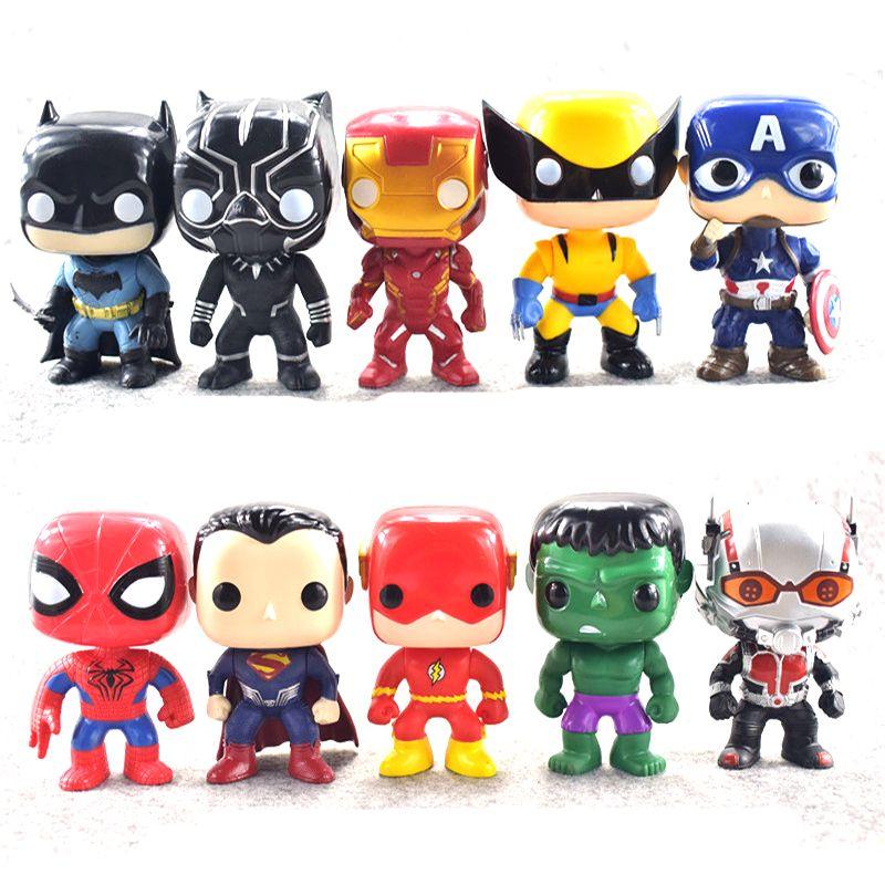 FUNKO POP 10 unids / set DC Justice figuras de acción Liga Marvel Avengers Superhéroe Personajes Modelo de vinilo Figuras de juguete de acción para niños