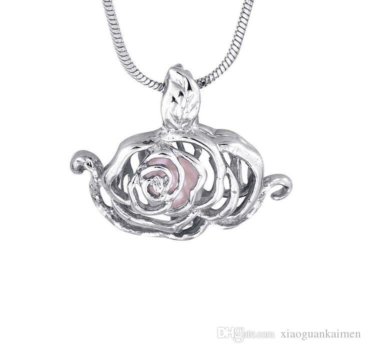 18kgb Mermaid Football Pearl Cage Pendenti Oyster medaglioni gioielli desiderio desiderio collana ciondolo perla gioielli buon regalo donne