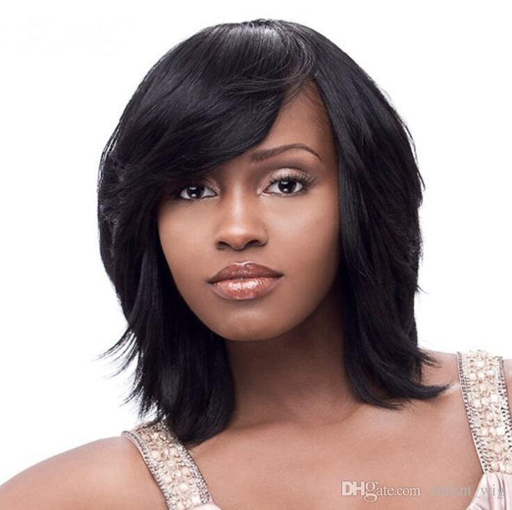 Compre ZF Pelucas Negras Bob Mujeres Naturales Rizado Pelo Negro Bob Cortes  De Pelo Para Mujeres Negras Corte De Pelo Corto Mujeres A  13.97 Del  Zhifan wig ... a9e7a7a30d6f