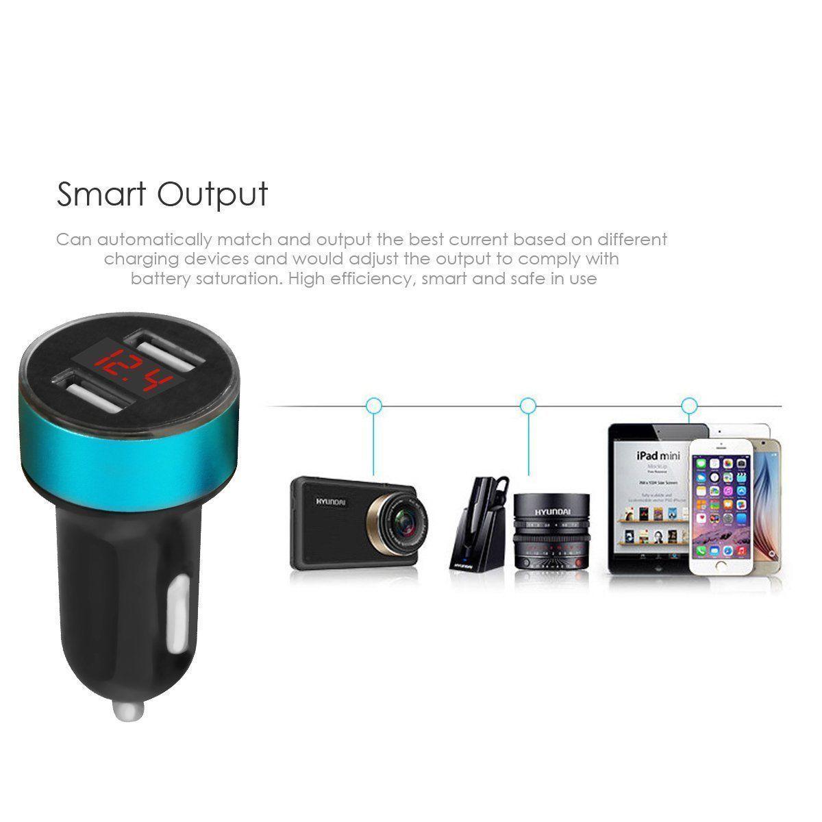 Cargador de coche 5V / 3.1A Carga rápida Puerto USB dual Adaptador para encendedor de cigarrillos Voltaje Envío gratis