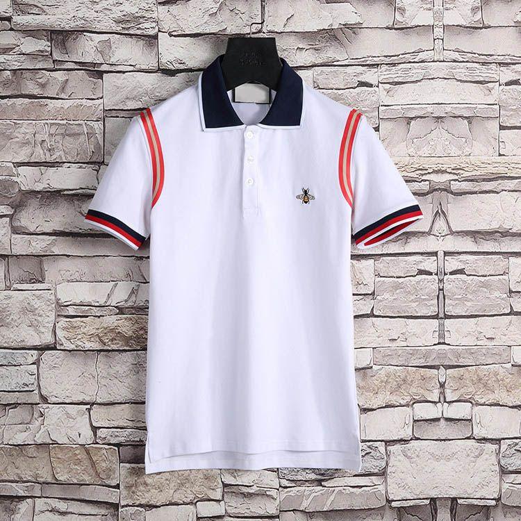 Yeni Tasarımcı Polo Gömlek Erkekler Lüks Polo Rahat Erkekler Polo T Gömlek Yılan Arı Mektup Baskı Nakış Moda Yüksek Sokak Mens Polos