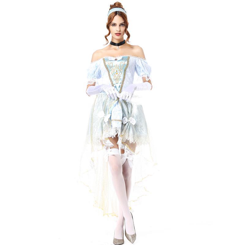Grosshandel Weisses Schneekostum Cinderella Prinzessin Kleid Frauen