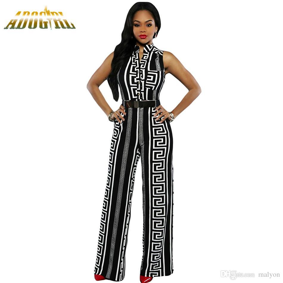 28fde2415c 2019 Wholesale Fashion Long Jumpsuits For Women Plus Size XXXL Black White  Print Gold Belted Jumpsuit Fashion Sexy V Neck For Ladies Playsuit From  Malyon