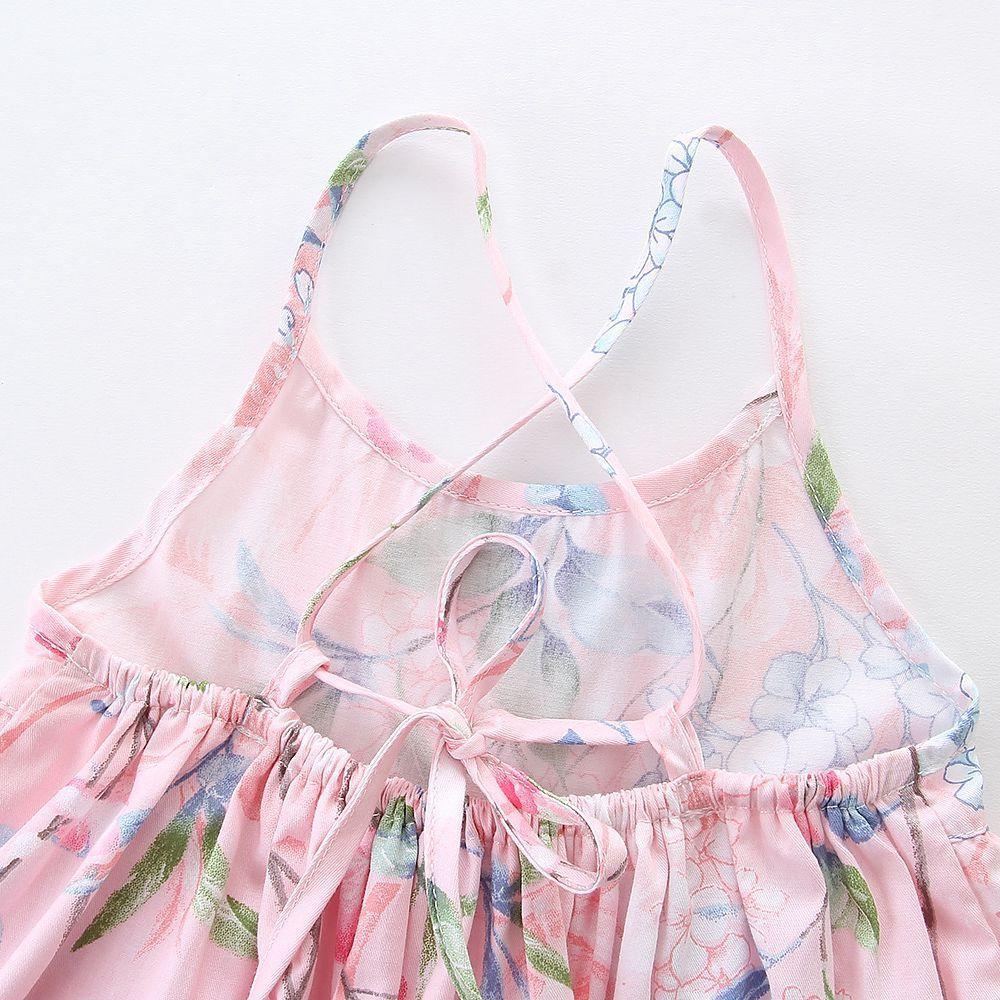 2018 Floral Printed Dresses for Girl Lace Slip dress Vintage High-waist Spaghetti strap Back cross straps Dress 100% cotton Boutique Summer