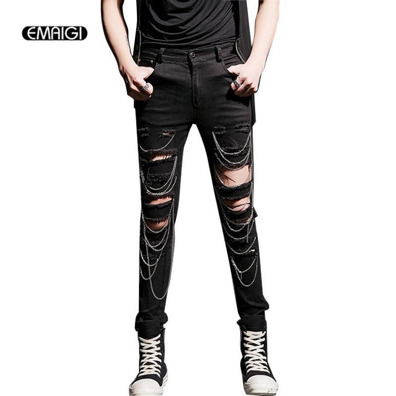 c7a12a7076 High Street Cool Men Hole Chain Jeans Male Fashion Casual Slim Fit Denim  Pants Rock Punk Jeans Trouser Costume K518