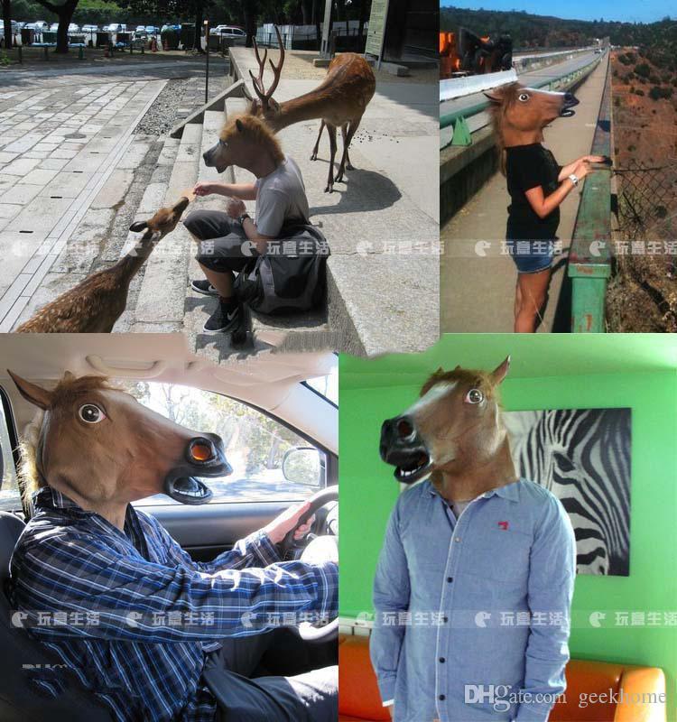 Ürpertici At Maske Kafa Cadılar Bayramı Kostüm Tiyatro Prop Yenilik Lateks Kauçuk parti hayvan maskeleri ücretsiz kargo