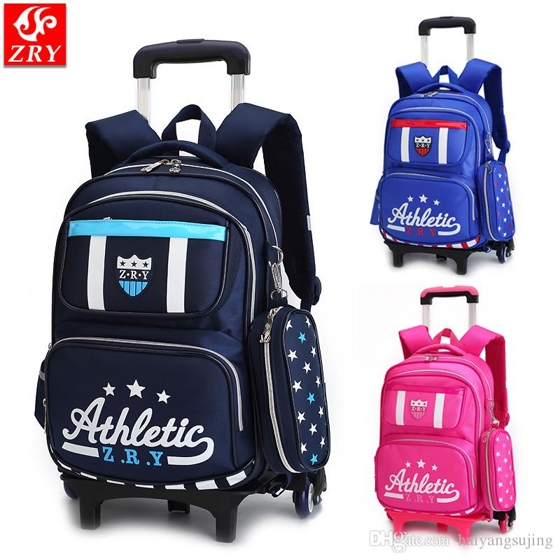 b7d902e4aff5 Removable Trolley School Bag 2 6 Wheeled Waterproof Children Backpack Bags  Travel Luggage Boy Girl Schoolbag Shoulder Backpacks Bum Bags Hype Backpack  From ...
