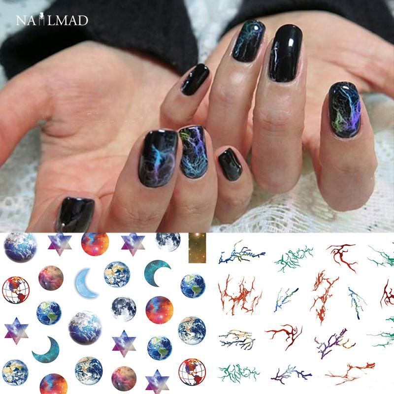 1 Sheet Nailmad Galaxy Nail Art Stickers Nebula Marble Nail Sticker ...