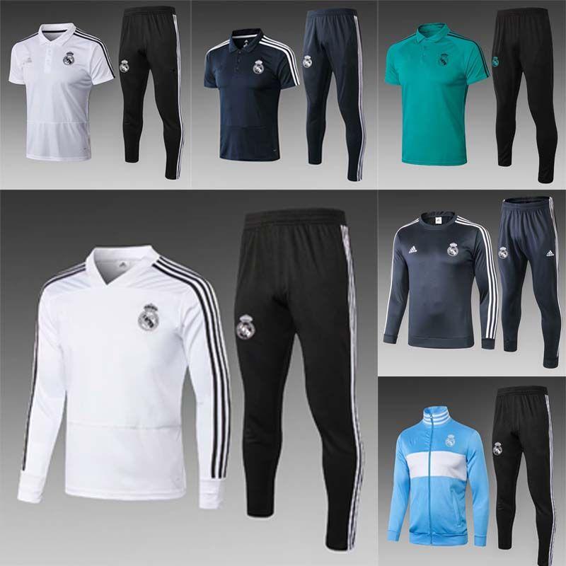 6c80ff1ab022e Compre 2017 2018 Real Madrid Uniforme De Treinamento De Futebol Uniformes 17  18 Ronaldo Real Madrid Treino De Futebol Survetement Manga Comprida Treino  ...