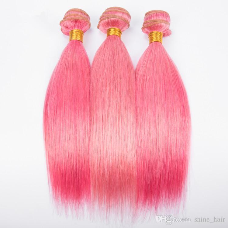 Silky Straight Virgin Peruvian Pink Color Human Hair Bundle Deals Pure Pink Virgin Remy Human Hair Weave Bundles Straight Extensions