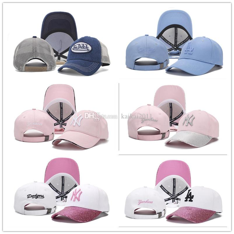 2018 Baseball Cap NY Embroidery Letter Snapback Hats Cheap Hat Outdoor Men&Women Wholesale Fitted White Pink Blue Sports Caps